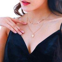 Pendentif Colliers Fashion Summer Bijoux Femme 2021 Chaîne en or Perle d'eau douce multicouche pour les accessoires pour filles