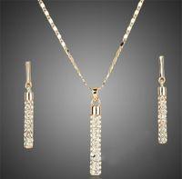 Boucles d'oreilles diamants plaqués 18 carats Pendentif Collier de pendentif Ensembles de la marque Mode Strass bijoux Ensemble pour Femmes Wedding Party 508 Q2