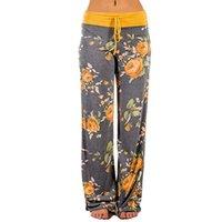 Women's Pants & Capris Jaycosin Womens Cotton Comfy Stretch Floral Print Drawstring Palazzo Wide Leg Lounge Stacked Sweatpants Women
