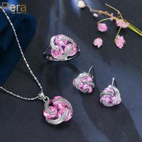 Earrings & Necklace Pera Fashion 4 Colors Choice Rotating Design Jewelry Sets Big 3 Round Colorful CZ Zircon Ring For Women J042