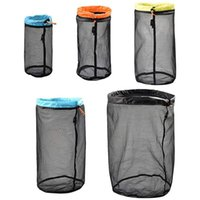 Sleeping Bags LUCKSTONE Mesh Filling Bag Set (S&M&L&XL&XXL) Nylon Drawstring Storage Bag, Suitable For Camping Trip, Hiking 5-Piece