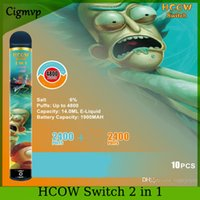 HCOW Switch 2in1 4800 puffs descartáveis Vape duplo cigarro pré-preenchido 14ml 1900mAh 8 cores bateria vcan shine r e m