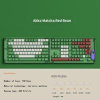 Klavyeler Akko Matcha Kırmızı Fasulye ASA Profil KeyCaps Çift-S PBT 158 Anahtar Siyah Pembe Midnight Neon Los Anahtar Kapak Mekanik Oyun Klavye
