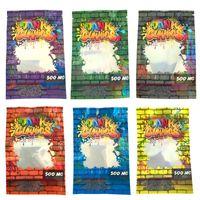 Holografische Dank Gummies Verpackung Mylar Bag 500mg Essbarer Stand Pouch Hologramm Geruchsdichte Taschen Einzelhandelspaket