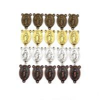 100 sztuk Stopu Dziewica Maryja Medal Oval 3 Otwór Złącze Do Dokonywania Biżuterii Kolczyki Naszyjnik DIY Akcesoria 4 Kolor