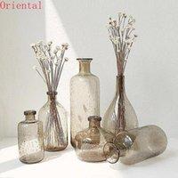 Europe Vintage Glass Vases Flower Pot Vase Decoration Home Ins Linving Room Nordic Deco Dried Hydroponic Bottle