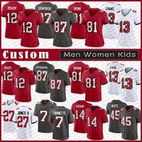 TB 12 Tom Brady Custom Men Women Kids Bucs Football Jersey 87 Rob Gronkowski 81 Antonio Brown 13 Mike Evans 45 Devin Белый 7 Леонард Футнетт Крис Хрис Гордвин Тристан