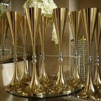 Vaser 10st sälja 69cm lång bröllop guldkandelabra centrumpiece till salu Yudao1197