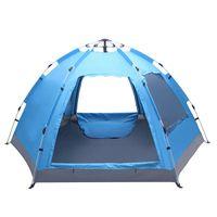 Acampar livre para construir tenda hidráulica com seis lados de camada dupla portas e dualidades d