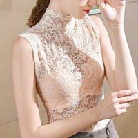 Sommer Mode Sleeveless Lace T Shirts Frauen Elegante Blumenstickerei Aushöhlen Spitze Tees Damen Sexy High Street Slim Tops