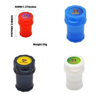 Honeypuffualk 2in1 컨테이너 3 부품 가방 40 mm 플라스틱 그라인더 그라인더 흡연 허브 핸드 뮬러