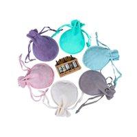 50 pçs / lote cordão de veludo sacos de veludo multi tamanho de embalagem de jóias de jóias com doces pulseira saqueta pode imprimir logotipo 1004 T2