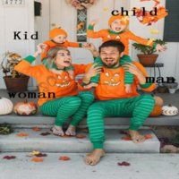 Halloween family outfits long-sleeved pumpkin striped soft holiday parent-child outfit