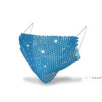 Мода красочные сетки дизайнерская вечеринка маски Bling Diamond Rhinestone Grid Net моющаяся сексуальная полая маска RRE10353