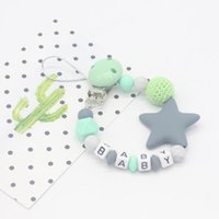 Pacifier Holders&Clips# Baby Products Clips Silicone Teething Beads For Girls Boys Gift Teether Toys INS Style Pacifiers Leashes & Cases