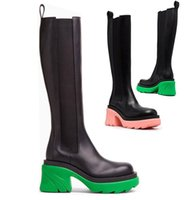 AAA++ High heels Green soles Bottega Tire high leather boots Cowhide leather Chelsea booties Men platform chunky shoes lady Knight High-boots women cowhide boots 35--45