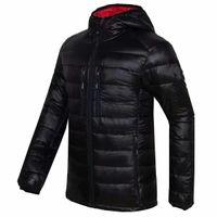 Sıcak Işık Aşağı Kanada Parka Ceket erkek Moda Kapüşonlu Ceket Hafif Slim Fit Coats Downs Kaz Ceketler Yastıklı Dış Giyim Siyah 7696