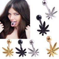 Beliebte 1 stück Blätter Zunge Piercing Ringe Bolzen Edelstahl Unisex Modische Zunge Nable Bar Körper Schmuck Für Frauen Männer