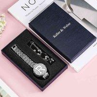 Diseñador Luxury Brand Watches Silver Women's Rhinestone Quartz Pulsera Set Exquisite Fashion Ocio