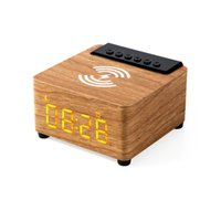 Wooden Bluetooth Speaker Music Acoustic System 20W HIFI Stereo Surround LED Display Outdoor Speakesr With FM Radio Alarm Clock