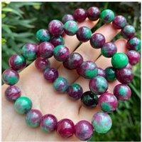 Natural Multicolor Green Red Treasure Beaded Bracelet Free Ship ping