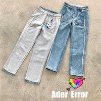 2021 Ader 오류 가역 청바지 남성 여성 1 : 1 고품질 AderError 청바지 허리 패치 Ader 데님 바지 토어 스타일 X0602