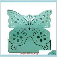 Wrap Event Festive Home & Garden 50 Pcs Laser Cutting Butterfly Candy Boxes Favor Ribbon Gift Sweet Boxe Luxury Wedding Party Supplies 7Zsh1