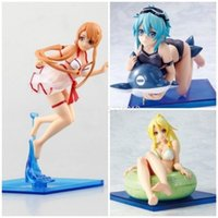 16 cm Sword Art Online Sexy Anime Figure Swimsuit Asuna Yuuki Figur SHINO Asada Action Figure Kirigaya Suguha Leafa Figur Spielzeug X0526