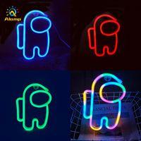 LED Neon Işık Burcu USB Renkli Astronot Şerit Duvar Işıkları Gece Lambası Oda Tatil Parti Dekor Için Serin Doğum Günü Noel Hediyesi
