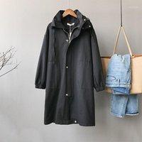 가을 여성용 코트 후드 싱글 브레스트 패딩 스포츠 캐주얼 Casure ChiC Korean Harajuku Black Orange Long Trench Overcoat1