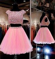 Rosa Zwei Teile Backless Heimkehr Kleider A-Line Jewel Halsausschnitt Rhinestones Graduation Kleid Knielang Kurzer Prom-Kleider für süße 16