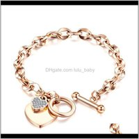 Diamante Zirconia Charms Charms Fashion Designer 316L Acciaio inossidabile Collegamento Acciaio Gioielli per donna Girls Regali Rosa 9YEN6 Braccialetto di fascino 3xE81