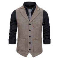 Men Suit Vest 2021 Fashion Korean Multiple Pockets Herringbo...