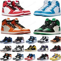 Hot Pine Green Black 1s Basketballschuhe Jumpman 1 Blutlinie Männer Designer Sneakers Furchtlose Obsidian UNC Patent Gold Black Toe Top Trainer
