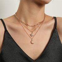 Halbmond-Anhänger Halsketten Mode Multilayer Wunderschöne Halskette Frauen Hexagramm Anhänger Kette Klassisches Geburtstagsgeschenk
