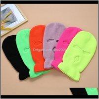 Caps Pure Color volle Abdeckung 3 Loch Balaclava Strick Winterski-Radmaske Wärmer Outdoor-Gesichtsmasken Schal 2xwi I7VCT
