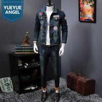 Women Men Denim Velvet Thick Coat Korean Slim Patchwork Warm Cowboy Jackets Tops Biker Trousers Two Piece Set Male S-3XL Women's Pants