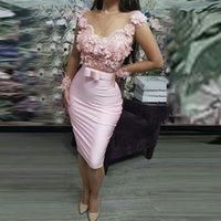 Robes de cocktail rose satin sexy sirène ermaid illusion dentelle dentelle 3d fleurs arc robe courte tenue robe de retour