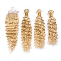 # 613 Blonde Brésilien Vierge Cheveux Verfs avec fermeture Deep Wave Wavy Blanchiment Blonde Cheveux Humains Tissu 3 Bundles avec la fermeture avant lacet 4x4