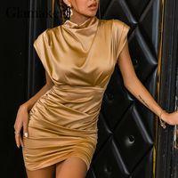 Casual Dresses Glamaker Pleated Sleeveless Summer Evening Satin Dress Fashion Chic Elegant Dinner Mini Dress2021 Party Club Spring Vestidos