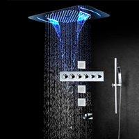 럭셔리 욕실 샤워 시스템 강우 온도 조절 밸브 LED 세트 임베디드 천장 스파 헤드 스테인레스 스틸 크롬 세트