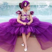 Stunning Purple and Gold Lace Feather Sleeves Girls Pageant Dresses Short Front Long Back Hi Low Toddler Ruffles Kids Teens Little Girl Party prom Formal Dress