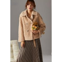 Women's Fur & Faux 2021 Fashion Winter Casual Sheep Shearing Jacket Women Real Coat Female Wool Turn-down Collar Thick Warm Outerwear D88