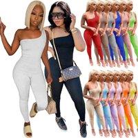 Summer Women Designer Sumpsuits Sexy Un Hombro Sin mangas Hip Levantamiento Deportes Mamélicos Elegante Body Bodywear Clubwear