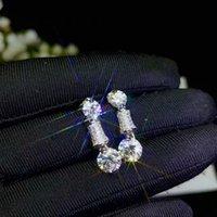Boucles d'oreilles moissanites pour femmes bijoux 925 argent sterling brillant mieux que Diamond Party cadeau 4PC gemmes