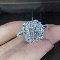 Réel 100% 925 Sterling Silver Bijoux Naturel Moissanite Bague pour femme Huit coeurs Bijoux Anillos Bague de mariage Boîte Gemstone