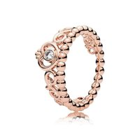 100% 925 Sterling Silver My princess Stackable Ring Set Original Box for Pandora Women Wedding CZ Diamond Crown 18K Rose Gold Ring