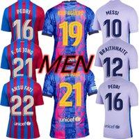 21 22 남성 축구 유니폼 바르카 FC 멤피스 그레이즈 만메이타 드 Futbol Messi Kun Aguero 2021 2022 Ansu Fati Pedri F.De 종 Dest 축구 셔츠 Demir Kits