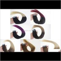Weft Extensions المنتجات إسقاط التسليم 2021 16 بوصة إلى 24 بوصة أومبير ريمي في الجلد الملحقات البشرية، ريمي الشريط الشعر ملحقات، 20pcs / bag 30g، 40g،