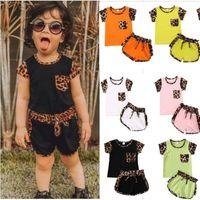 Летние Детские леопардовые футболки и шорты для шорты для шорты для шорты велосипеда набор одежды для одежды для велосипедов